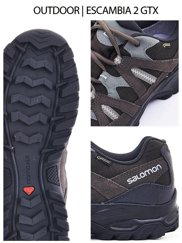 6a81c7ab6163 SALOMON 男ESCAMBIA 2 GTX 低筒登山鞋幻影灰  蓖麻灰- PChome 24h購物